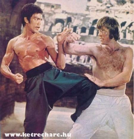 Bruce Lee és Chuck Norris bunyóznak